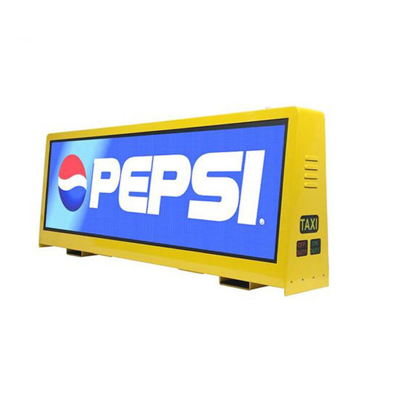 Ganda Sisi Taksi LED Advertising Sign, Video Top Taxi Roof LED Display 5mm Pitch